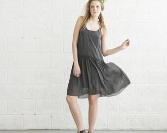 V-Neck Cocktail Dress - Dark Grey.