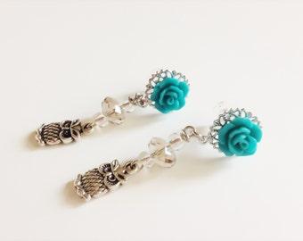 10g 8g Dangle Plugs 6g 4mm, 12g Plugs with Dangles Owl Ear Plugs Choose Rose Color Custom Body Jewelry Ear Tunnes Gauged Earrings