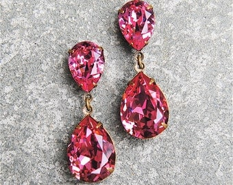 Sweet Rose Pink Earrings Duchess Hourglass Earrings Swarovski Crystal Rose Pink Earrings Mashugana