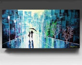 Cityscape Painting,  HUGE Original Contemporary Palette Knife Painting, Wall Decor, Textured Painting on Canvas Ready to Hang 48''x24''