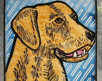 Stained Glass  Dog  Suncatcher Yellow Lab  JRN123