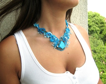 Turquoise blue beadwork necklace, Beaded jewelry, Blue necklace, Beaded necklace, Unique handmade gift for her