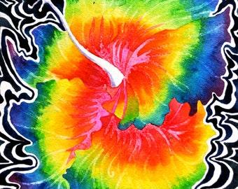 Hawaiian Hibiscus Print (Psychedelic Paradise Hawaii Maui Rain Forrest Flower Tropical Trippy Vibrant Rainbow Watercolor)