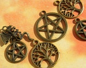 6 pc. Mixed WICCAN Charm Lot Pentacles DRAGON Tree PAGAN Pentagram d.i.y.  Jewelry Making Bronze Finish