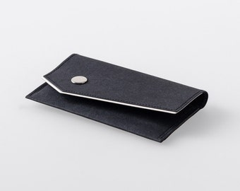 Bordered Angled Washable Paper Business Card Case in Punaluu Black
