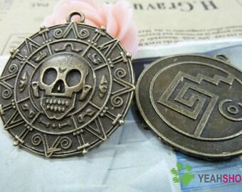 Antique Brass Metal Pendants - Pirate - 39mm - 3 PCS (JP60)*