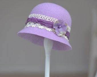 Newborn Cloche Hat. Lady Sybil Cloche Hat. Baby Cloche Hat. Vintage style Cloche Hat. Felt Cloche. Newborn Photography Prop.UK SELLER