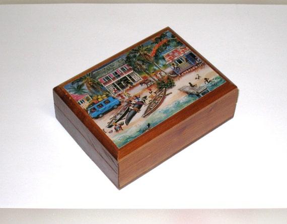 Handmade Jamaican Wooden Annabella Trinket Box / 1987 / Eve Foster Print / Caribbean / by CookieGrandma60