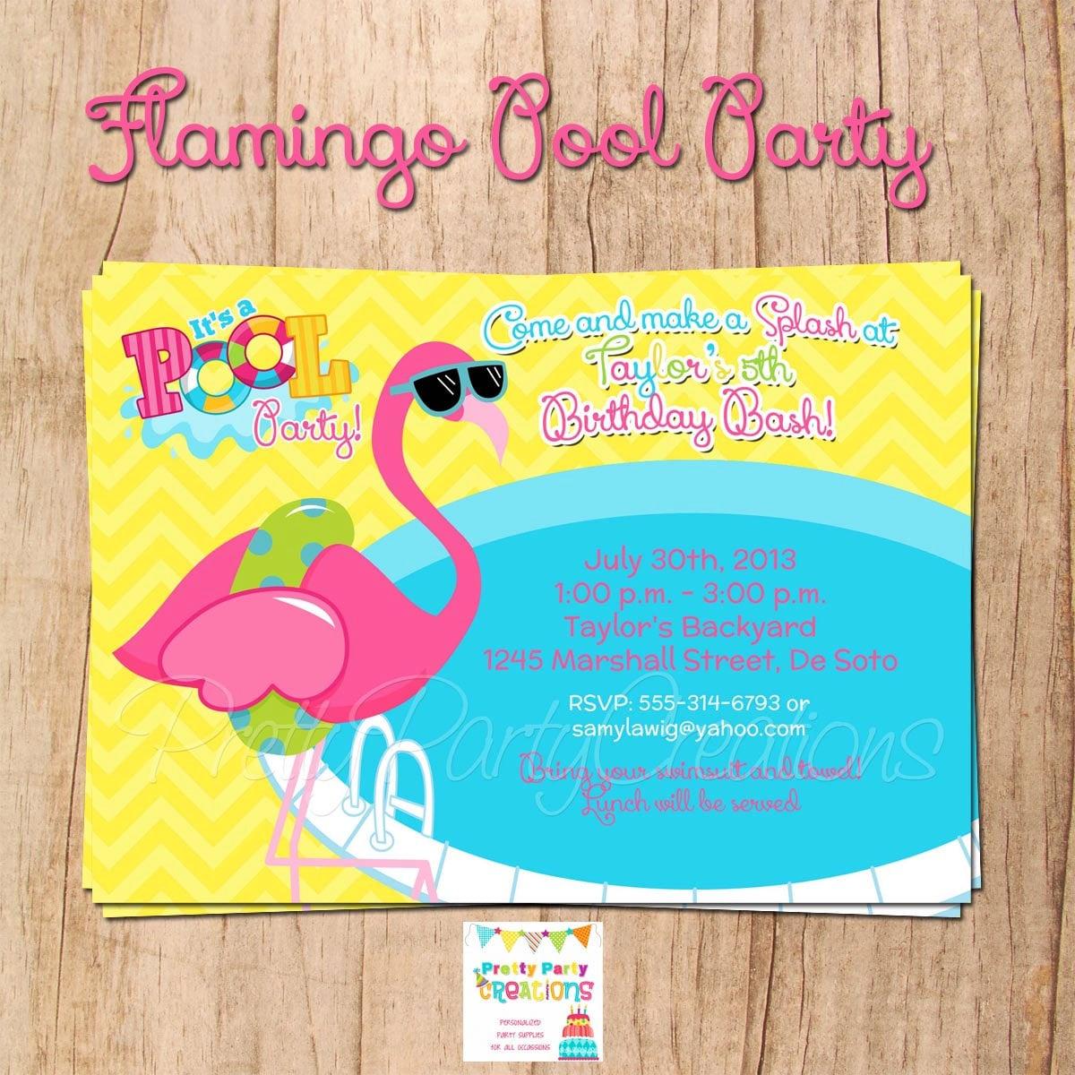 FLAMINGO POOL PARTY invitation You Print