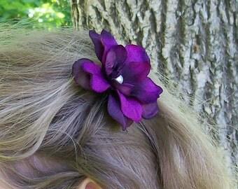 Dark Purple Flower Hair Pin - Purple Wedding Hair Flower - Brides - Bridesmaids - Flower Girl - Made to Order