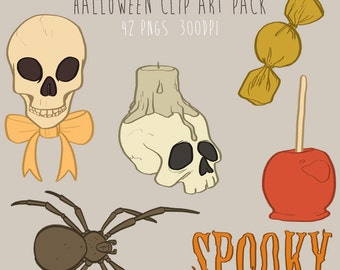 Hand Drawn Halloween Clipart, .PNG files Royalty Free, Instant Download