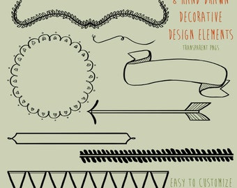 Hand Drawn Decorative Design Elements Clipart, .PNG files Royalty Free, Instant Download