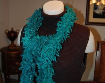 Crochet Scarf Fuzzy Loopy Blue