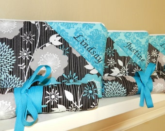 Bridesmaid Gift Bag Cosmetic Bag with Monogram and Jewelry Roll OR Brush Roll