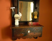 EASTLAKE vintage Shaving mirror.Hallway mirror.Antique Walnut wood. Usable wooden drawer