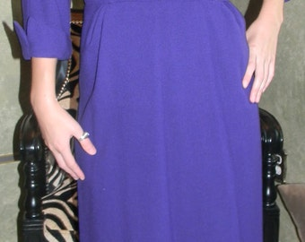 RK ORIGINALS  1940S Dress.Virgin Wool.Petersham Style .Couture Wrap Dress. Iris Purple.Satin Lined. Office party to Holidays