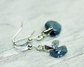 RESERVED Heart Valentine Earrings, Small Heart Earrings, Denim Blue Jewelry, Swarovski Jewelry, Romantic Earrings, Rustic Earrings