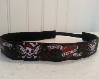 Non slip headband heart/love/skull
