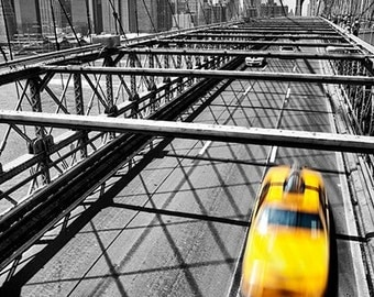 NYC Taxi, Photo Print, New York, City, Cityscape, Brooklyn Bridge, Selective Color, Urban, Yellow, Black, White