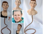Personalized Custom Caricature Art Doll. Portraits in wool. Personalized photo Bustos.