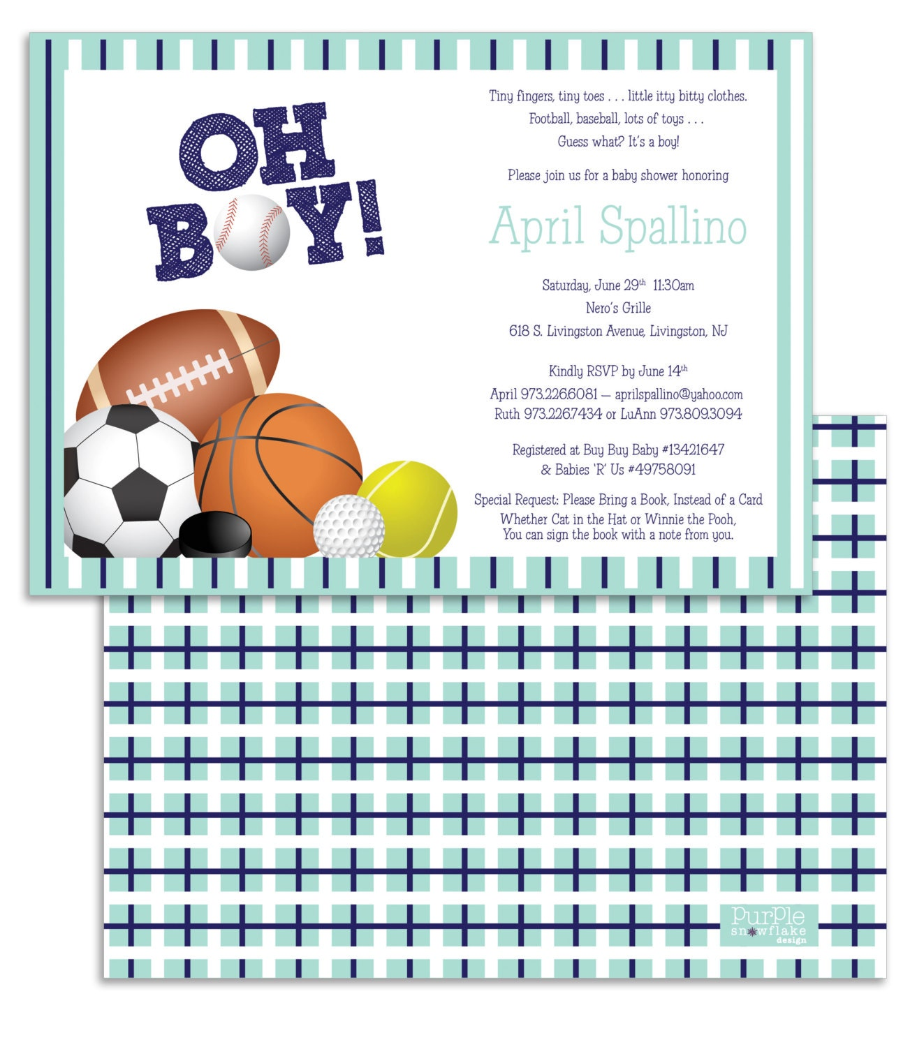 sports themed baby shower invitation by purplesnowflakexo