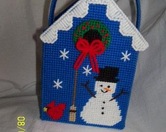 Birdhouse Snowman Nifty Gift Tote Bag