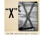 Letter X Alphabet Photography  Black & White 4x6 Letter Photo