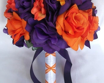 "17 Piece Package Wedding Bridal Bride Maid Of Honor Bridesmaid Bouquet Boutonniere Corsage Silk Flower ORANGE PURPLE ""Lily Of Angeles""ORPU01"