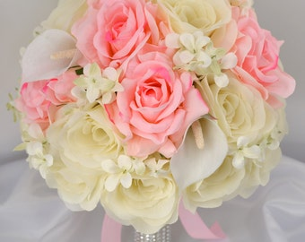 """17 Piece Package Wedding Bridal Bride Maid Of Honor Bridesmaid Bouquet Boutonniere Corsage Silk Flower PINK IVORY """"Lily Of Angeles"""" PIIV01"""