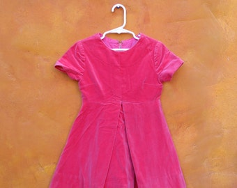 Vintage 1950s 1960s Pink Velvet Swing Party Girl's Dress. 4T 5T 6X