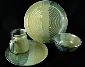 Handmade Stoneware Dish Set- Floating Blue and Warm Jade