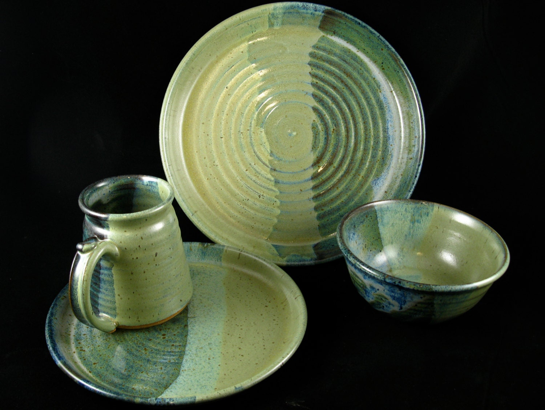 Handmade Stoneware Dish Set Floating Blue And Warm Jade