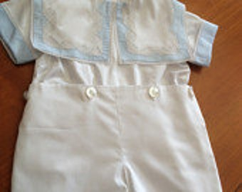 Older Boy version of Heirloom Bubble listing. Blue and white Button on Shorts with heirloom collar.