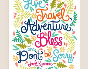 8x10-in Jack Kerouac Quote Illustration Print.