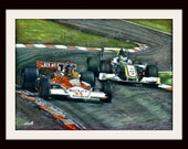 James Hunt & Jenson Button - Formula 1 F1 LARGE A4 A3 or A2 Art Print by RussellArt