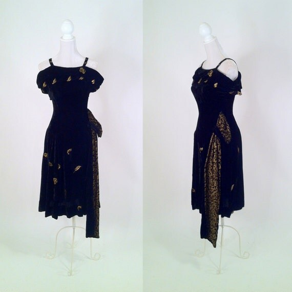 1950s Vintage Black Velvet & Gold Brocade Cocktail Dress with Side Sash - ALICE ADRIAN