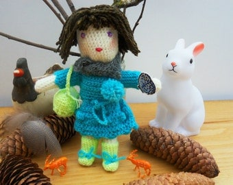 wool doll, crochet doll, girly toy