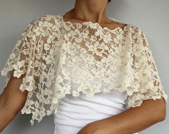 Oyster Ivory Lace Bridal Bolero, Bridal Shrug, Shabby Chic. Handmade, Unique Design Poncho