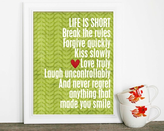 Life is Short Typography Poster - Inspirational Art Print - Motivational Typographic Poster Green Leaves