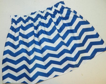 Tween, girl, toddler and baby royal blue and white chevron fabric SKIRT in sizes nb 3m 6m 12m 18m 24m 2t 3t 4t 5T 6 7 8 10 12 14 16