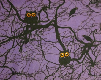 Owls Crows Trees Purple Cotton Fabric Fat Quarter or Custom Listing OOP