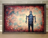 "Robot and Space, 12x18"" Framed Print on Birch Panel   /  Ready to Hang  /  ""12x18-Solo-RobotB-Space"""