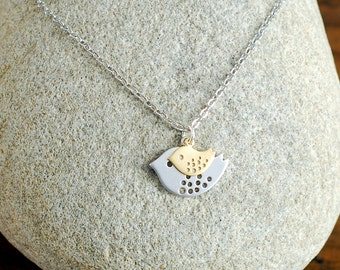 Silver Mama and gold baby bird necklace