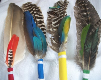 """SMUDGE FEATHER & .5 oz White Sage Meditation Sweat Lodge Prayers Ceremony Ritual Choice Color Fan Feathers Turkey Flicker Macaw 16"""" 14"""" 13"""""""