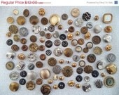 ON SALE Gold and silver metal vintage button mix/ gold tone/ brass/ silver tone/ vintage supplies/quantity 105 - BohoRain