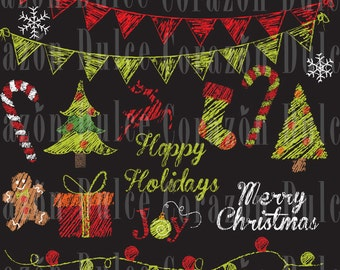Chalkboard Christmas images - Personal and Commercial Use Clip Art- INSTANT DOWNLOAD