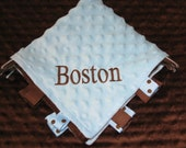 Monogrammed  Personalized Baby Gift -- Snuggle Cuddle Mini Blanket Brown Blue or Pink