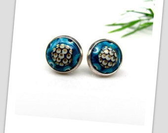 Oriental Blue Paper Studs Earrings