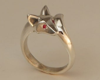 baby fox ring.  silver,   pick your eye color