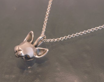 sphynx cat pendant with sterling  2.3 mm silver chain